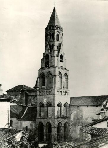 Clocher de la collégiale avant restauration, milieu XIXe siècle