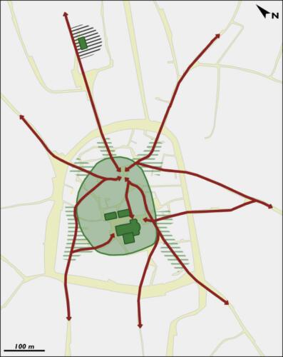 Extension le long des voies d'accès au bourg
