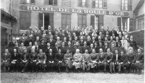 Mineurs à la sainte-Barbe devant l'hôtel de la Boule d'Or