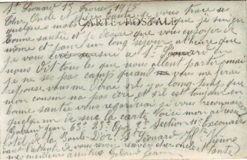 Verso de la carte des militaires devant l'hôtel de la Boule d'Or (février 1915)